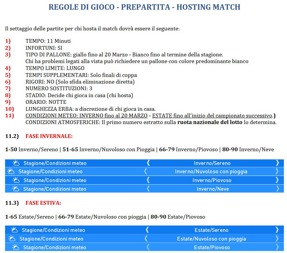 REGOLE DI GIOCO -PREPARTITA-HOSTING MATCH